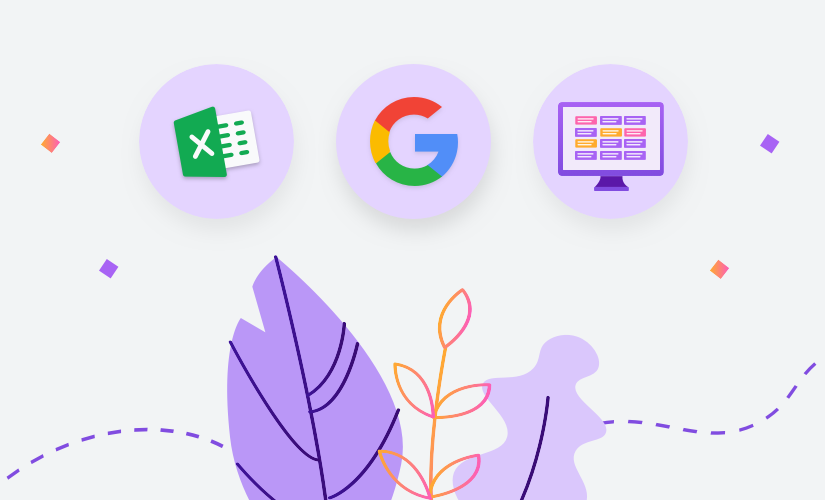 Illustration with Excel and Google icons