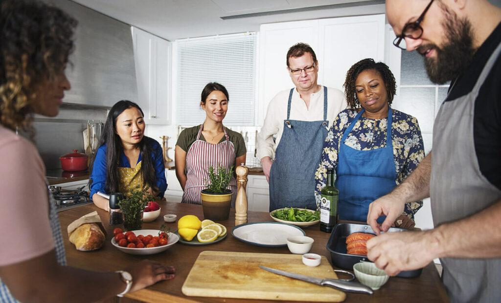 Team cooking food