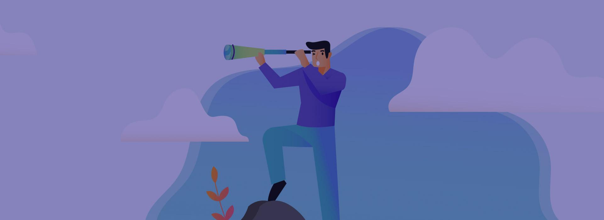 Animated man with telescope