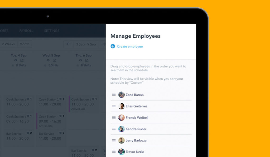 Screenshot manage employees