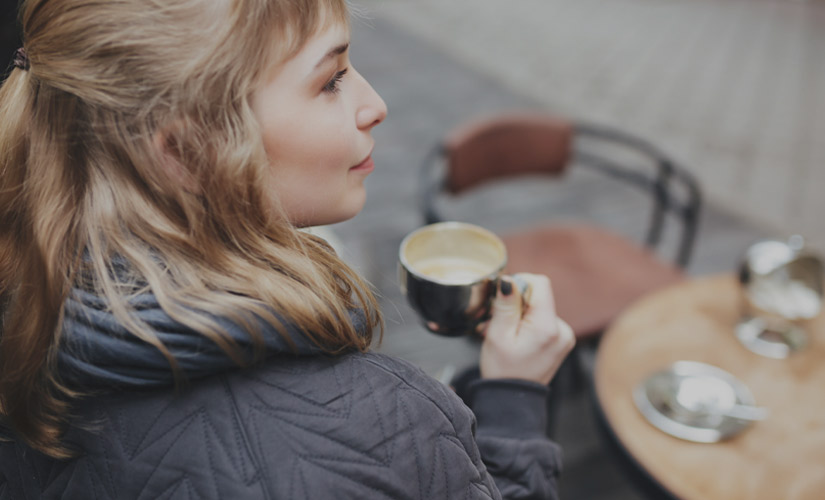 A woman with coffee